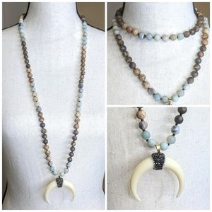 Jewelry - Bull Horn Bedazzled Pendent on Genuine Stone Mala